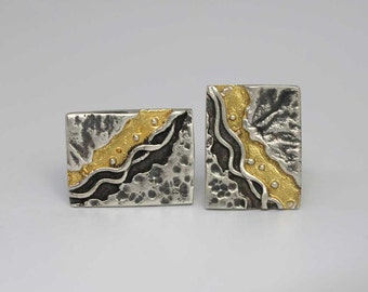 Silver & Gold Coastline Cufflinks - Ready to Send!