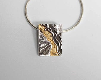 Silver & Gold Coastline - Small Pendant - Beach - Landscape Jewellery