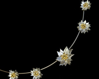 5 Daisy Chain Necklace Gold & Silver - Made to Order