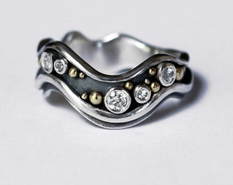 White Sapphire Stream Ring - Made to Order