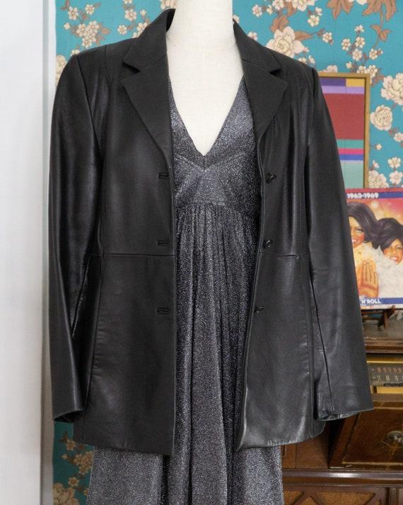 Mid-Length Leather Blazer