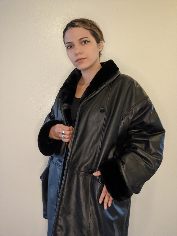 90s Faux Fur lined Leather jacket