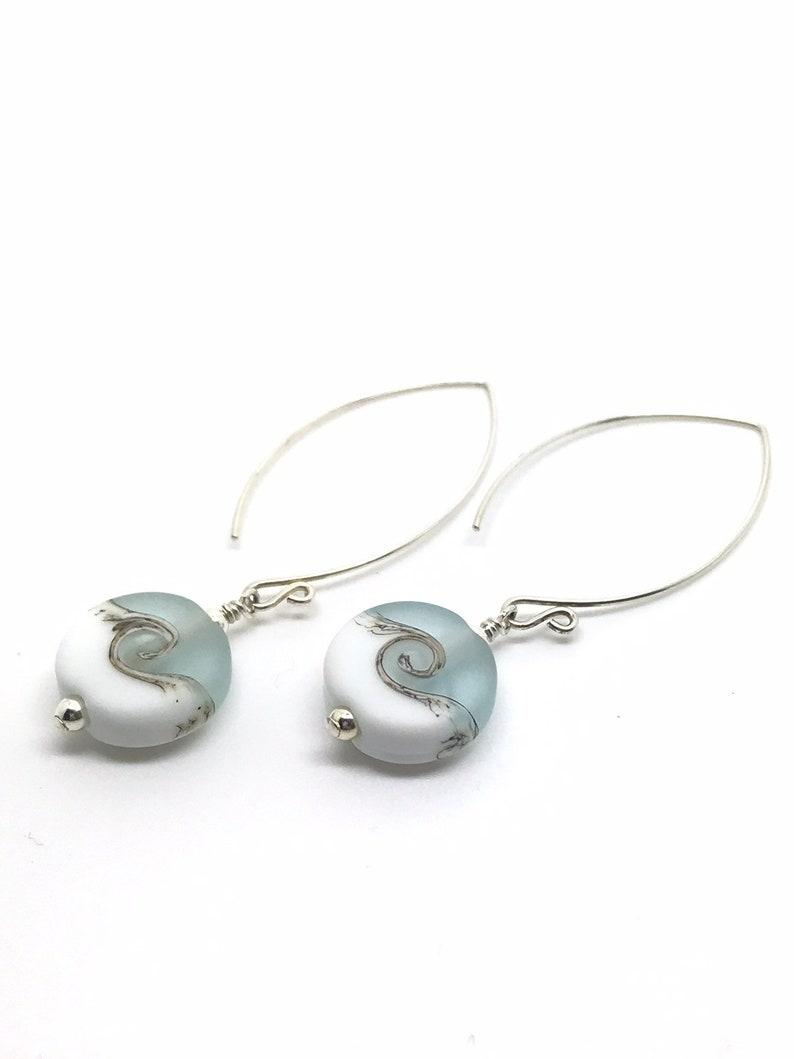 7f7df09de Sterling silver and lampwork glass earrings in aqua blue by   Etsy