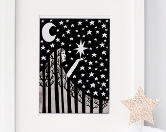 """Black and white art print """"Engulfed by the Night"""" (8.5 by 11""""), nature art prints, children's art, nature illustration, trees art print"""
