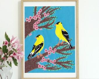 Goldfinch art, goldfinch bird, birds and flowers print, birds in trees, birds printable, bird illustration, animal digital print