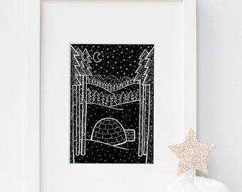 Winter art, starry night, black and white art, igloo decor, downloadable prints, nature illustration, digital art prints, nursery decor
