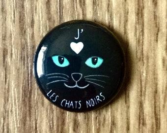 """Aimant J'aime les chats noirs (1"""" de diamètre), amoureux des chats, aimant chat, aimant chat noir, aimant minou, fait au québec"""