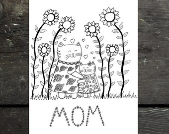 Mother's day card cat mom, mother's day printable greeting card, cat printable, cat mom, cat greeting cards download, mother's day gift