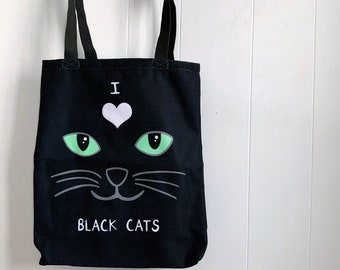 I Love Black Cats tote bag, black cat lover gift, cat bag, grocery tote, cat tote bag, cat lover gift, witch gifts, cat owner gift
