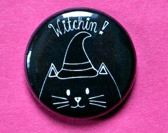 Witch cat, 1 inch pin, halloween cat, halloween cat pins, cute halloween, cat lover gift, witch pin, halloween pin, halloween favors