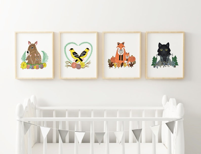 Seasons print set of 4 prints animal nursery art image 0