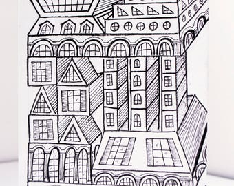 Architecture drawing, architecture art, ink drawing, whimsical art, quirky art, black and white art, original drawing, quirky gifts