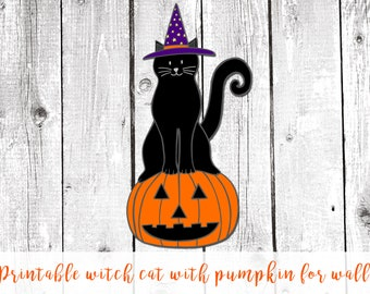 Halloween decor black cat, halloween printable decor, halloween decoration, halloween home decor,  halloween party, cute halloween decor
