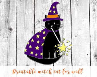 Halloween printable decor, halloween cat, halloween decor kids, cute halloween decor, cute halloween decoration, halloween home decor