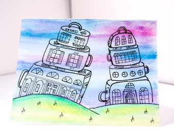 Travel painting, watercolor painting, travel art, travel wall decor, suitcase decor, whimsical art, travel lovers gift, quirky art