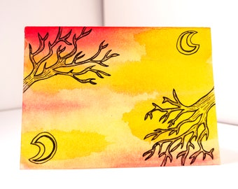 Moon and tree, tree watercolour, moon watercolour, tree painting, moon painting, nature illustration, nature wall art, tree decor