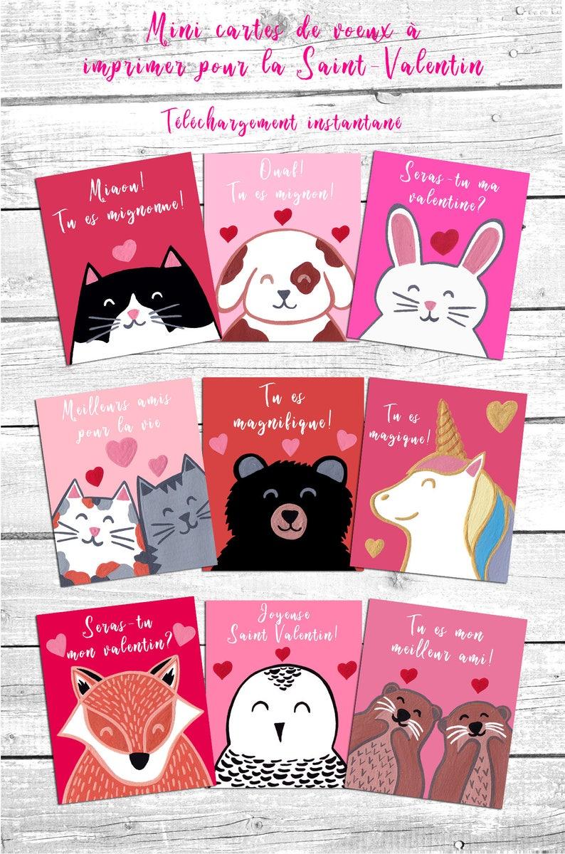 Bouquet De Fleur Pour St Valentin mini cartes de souhaits à imprimer pour la saint-valentin, téléchargement  instantané, numérique, carte st-valentin, saint valentin enfants