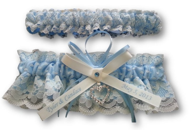 beautiful personalized blue satin and Ivory Lace with heart vintage garter Wedding Garter set name garter