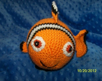 Crochet Nemo fish crochet clown fish ANY colors you want Can rattle or squeak