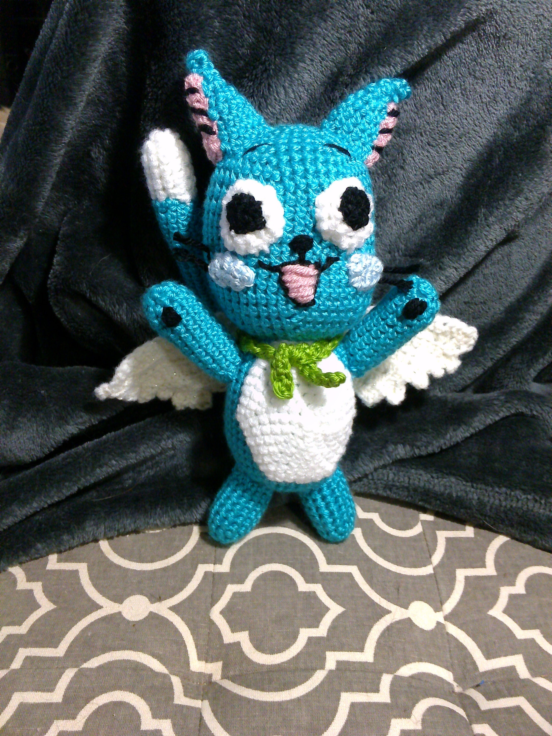 Anime Cat With Wings crochet happy cat anime inspired with removable wings