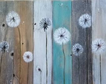 Special made to order Large 15x27 Dandelion charm Painting pallet wood rustic art home decor distressed farmhouse minimalist field calm