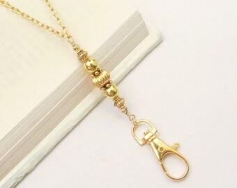 79672ef315 Gold Lanyard, Gold Necklace Lanyard, Gold ID Badge Holder, ID Card  Necklace, Teacher Lanyard, Gold Key Chain Lanyard Fashion Lanyard Women