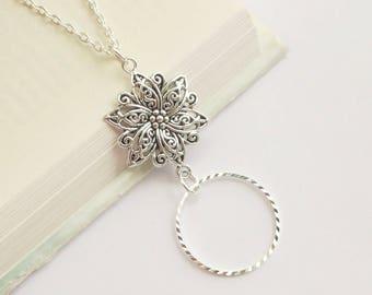 Silver Lanyard, Silver Eye Glass Loop, Flower Lanyard Silver, Eyeglass Holder Necklace Pretty Floral, Boho Silver Lanyard Simple Modern