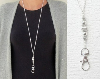 Silver Necklace Lanyard, Beaded Lanyard Silver, Silver ID Badge Holder, ID Card Necklace, Silver Fashion Lanyard Coworker Gift Under 25
