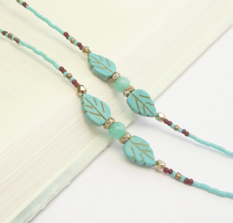 bf58b6ad776 Turquoise Eyeglass Chain Gold Eyeglass Holder Necklace