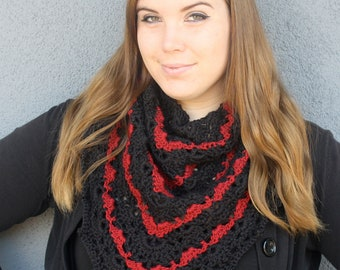 Black and Red Lace Shawl