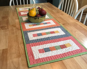 Table Runner Pattern - Quilted Table Topper PDF - Multi Color Table Topper - Rainbow Blocks - Kitchen Sewing - Kitchen Quilting - Quilt PDF