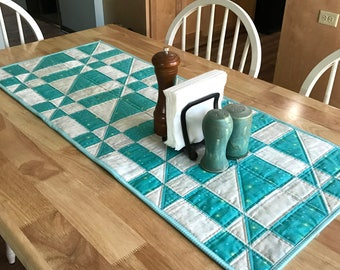 Quilted Table Topper PDF - Table Runner Pattern - Two Color Table Topper - Asymmetric Angles - Kitchen Sewing - Kitchen Quilting - Quilt PDF