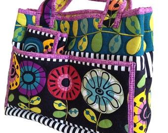 Crochet Tote Pattern - Crochet Bag - Craft Carryall PDF - Crochet Hook Caddy - Crochet Hook Case - Quilted Totebag pattern - #521