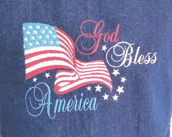 0466cf410de God Bless America - Unisex Apron - Embroidered