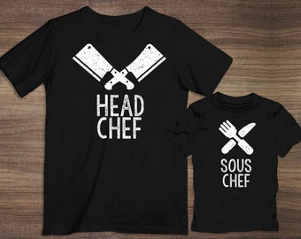 7812df8efa Head Chef and Sous Chef Matching T-Shirts / Onesie | Cooks | Head Chef |  Cooking Together | Funny Shirts | Matching Shirts