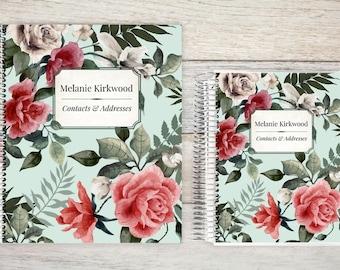 Address Book, Personalized Address Book, Contacts Book, Telephone and Address book, Custom Address Book - Vintage Rose