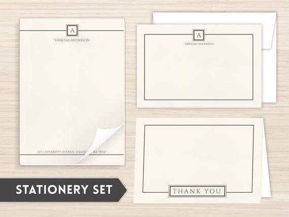 personalized stationery set stationery set personal etsy