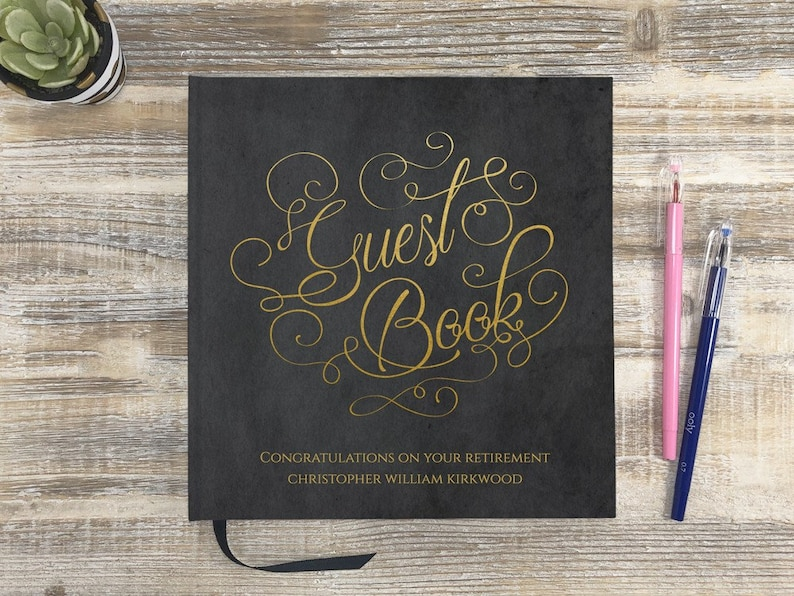 Smyth-Sewn Premium Guestbook Retirement Party Guest Book Guest Registry Book Juvilation GuestBook Retirement Guestbook