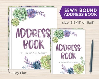 Address Book, Personalized Address Book, Smyth-Sewn Book, Sewn Contacts Book, Sewn Telephone and Address book, Contacts Book, Succulents