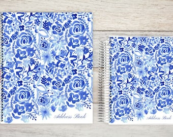 Address Book, Personalized Address Book, Contacts Book, Telephone and Address book, Custom Address Book - Cascading floral