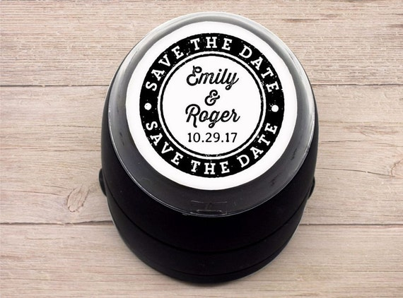 Custom Self Inking Stamp Save The Date Wedding Textured