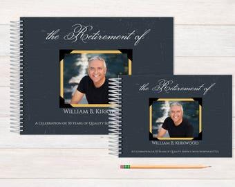 Retirement Guest Book, Retirement Guestbook, Retirement, Custom GuestBook, Personalized GuestBook, Retirment Registry Book, gold frame