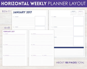 12-Month Weekly Horizontal Planner Pages