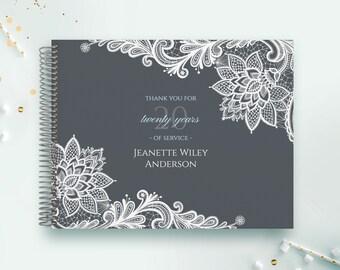 Retirement Guest Book | Retirement Guestbook | Retirement | Custom GuestBook | Personalized GuestBook | Retirement Registry | Grey Lace