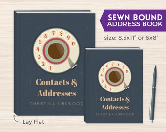 Address Book, Personalized Address Book, Smyth-Sewn Book, Sewn Contacts Book, Sewn Telephone and Address book, Contacts Book, Retro Dial