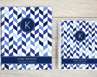 Address Book, Personalized Address Book, Contacts Book, Telephone and Address book, Custom Address Book - shades of blue chevron