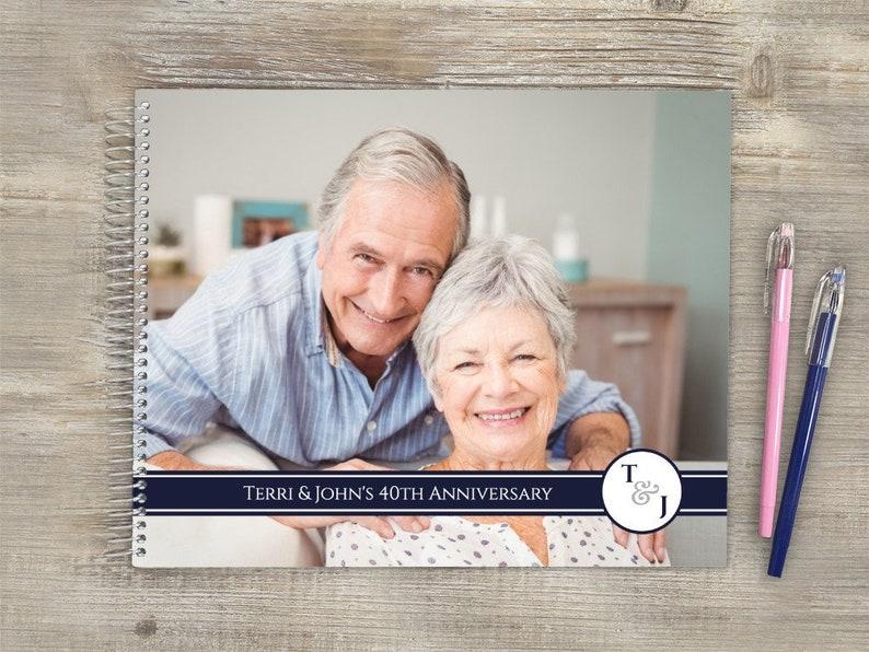 Anniversary Registry Book Navy Monogram Custom Guest Book Anniversary Guest Book Anniversary Guestbook Guest Book