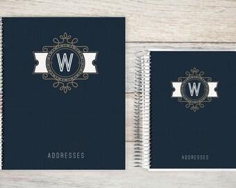 Address Book, Personalized Address Book, Contacts Book, Telephone and Address book, Custom Address Book - Modern crest