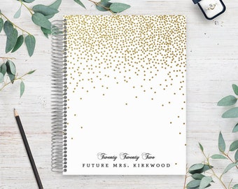 Custom Wedding Planner | Wedding Organizer | Engagement Gift for Bride | Wedding Planning Guide | Golden Faux Glitter Confetti