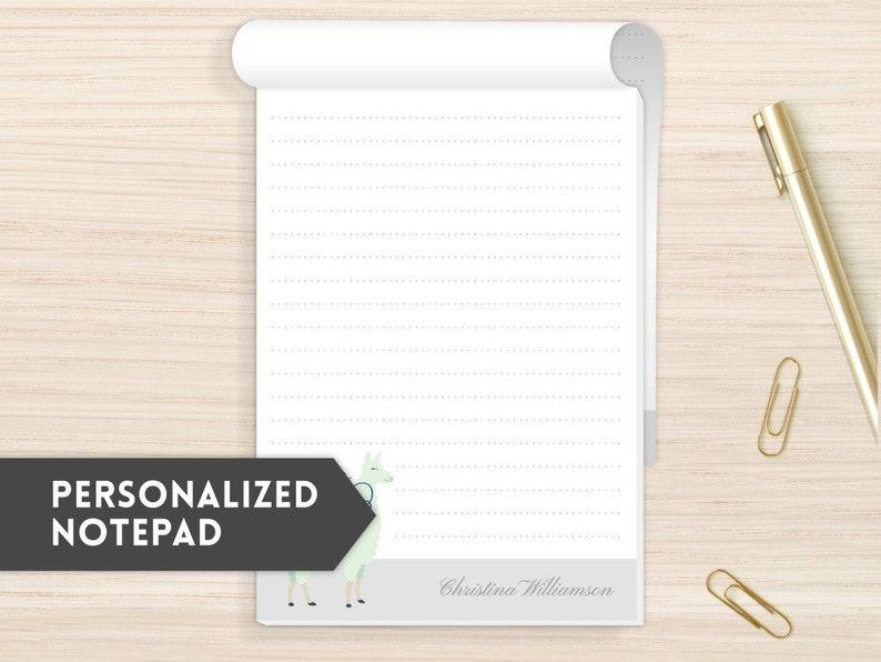 Personalized Notepad | Modern Notepads | Fun Notepad | Personal Stationery  | Customized Notepad | Custom Personal Notepad | Mint Llama